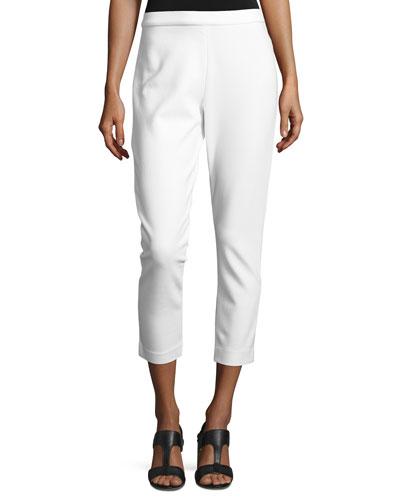 Ponte Slim Ankle Pants, Ivory, Plus Size