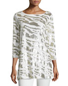 Sequined Animal Tunic, Ivory, Petite
