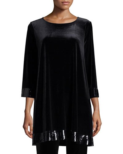 3/4-Sleeve Velour Tunic with Sequined Trim, Petite