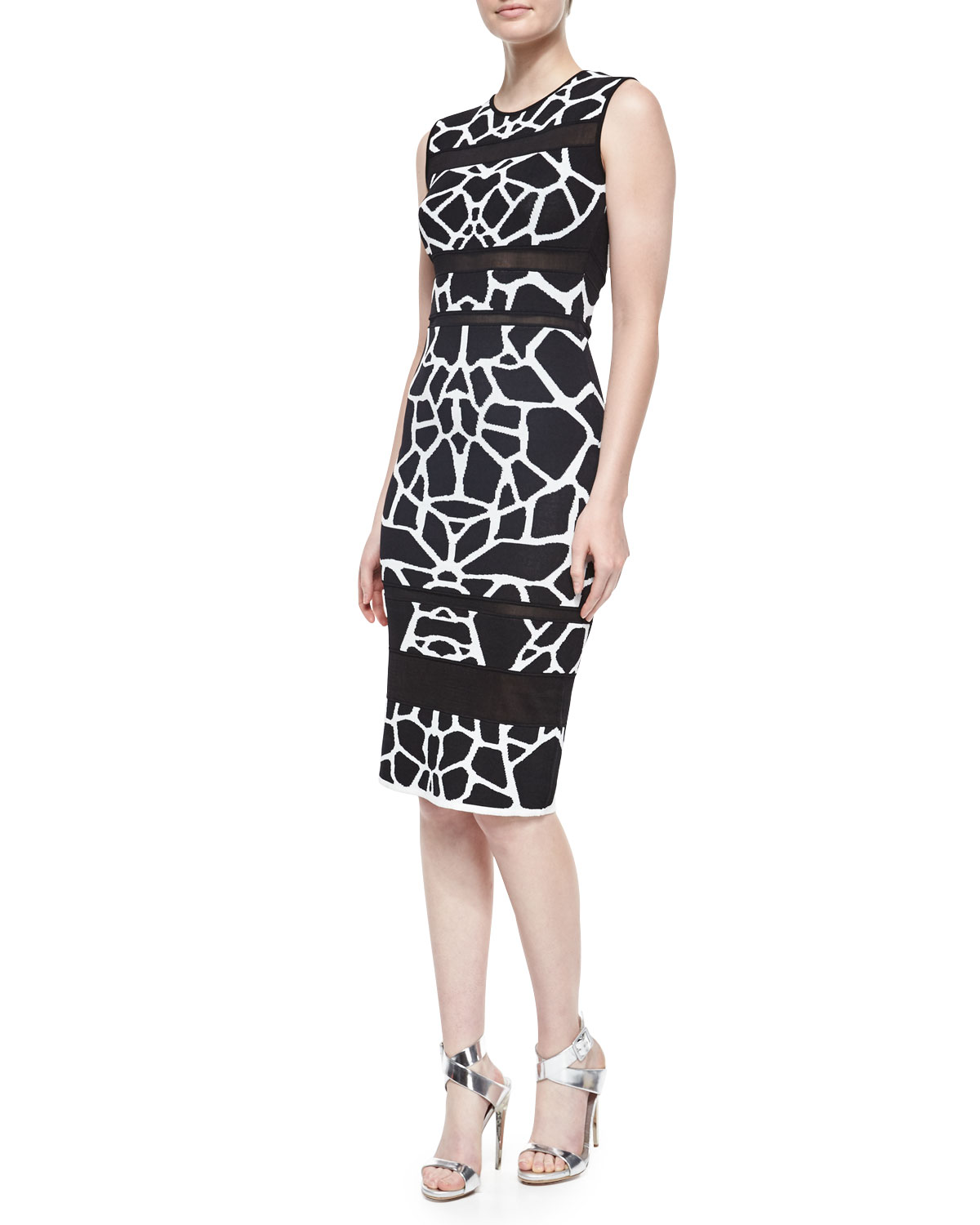 Sleeveless Animal-Print Sheath Dress, Black/White