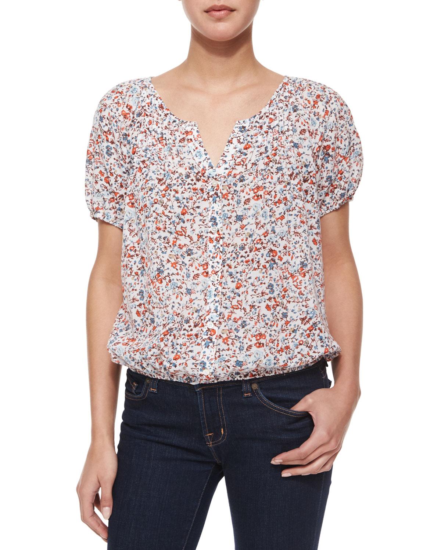 Linara Floral-Print Button-Down Blouse