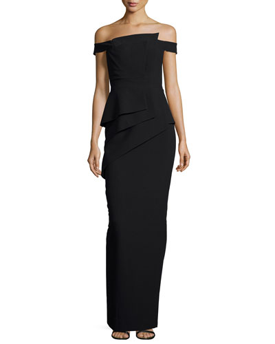 Black Fitted Evening Gown Neiman Marcus