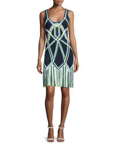 Fringe-Bottom Knit Dress, Indigo Combo