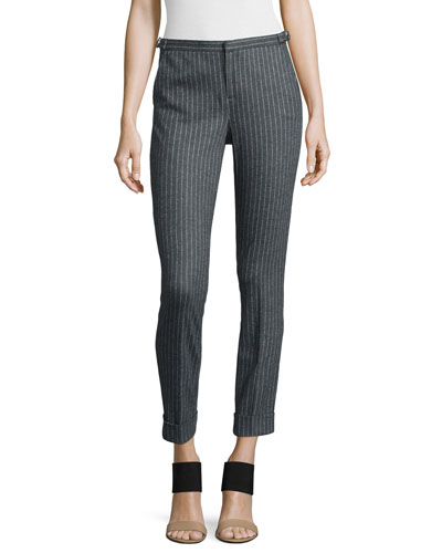 Adjustable Pinstripe Cropped Dress Pants