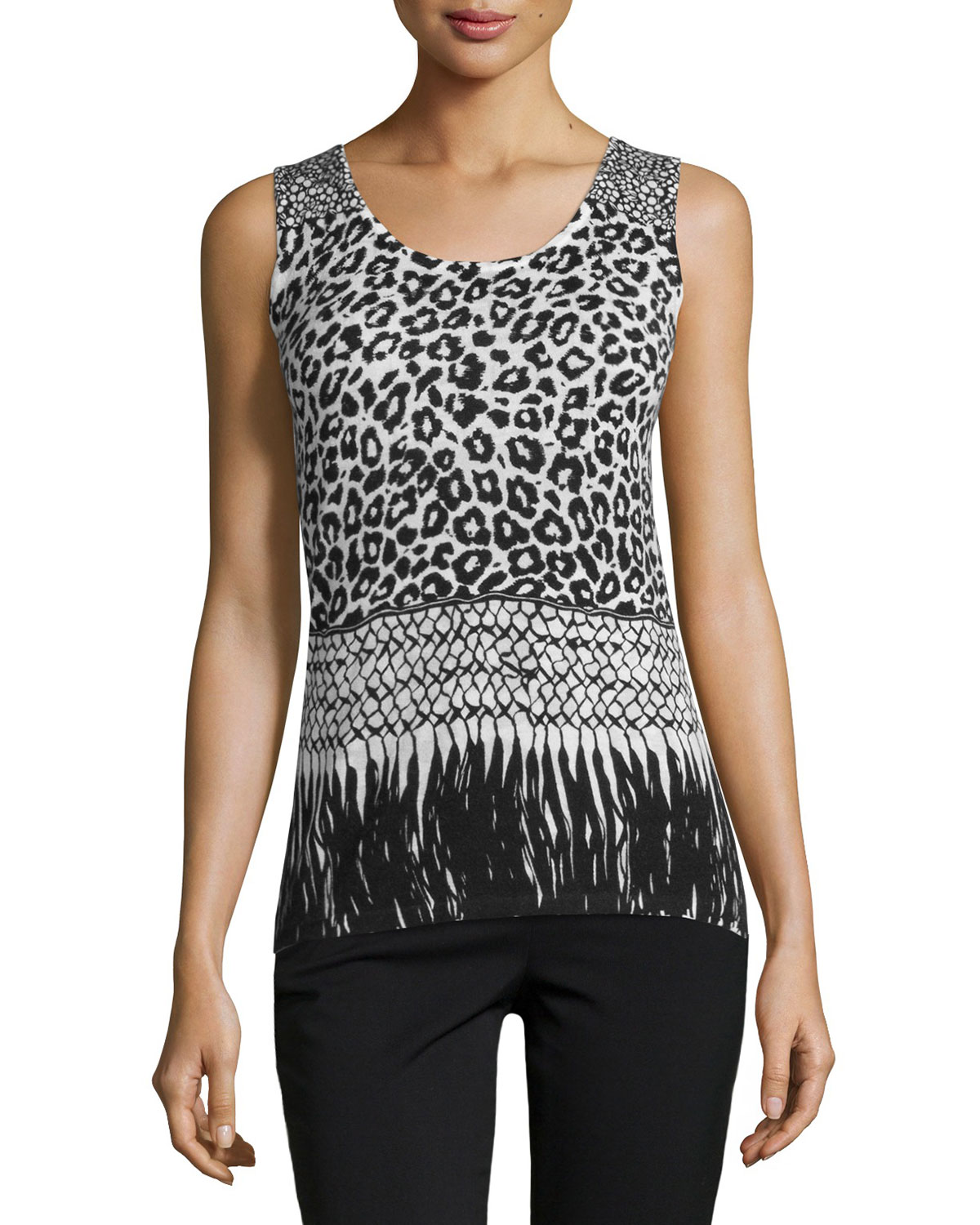 Mixed Animal-Print Cashmere Tank