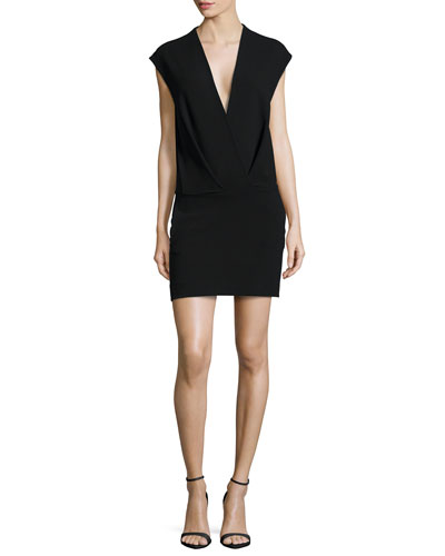 Cara V-Neck Cap-Sleeve Dress, Black