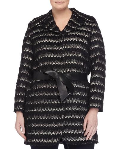 Nastro Alpaca-Blend Jacquard Belted Jacket, Plus Size