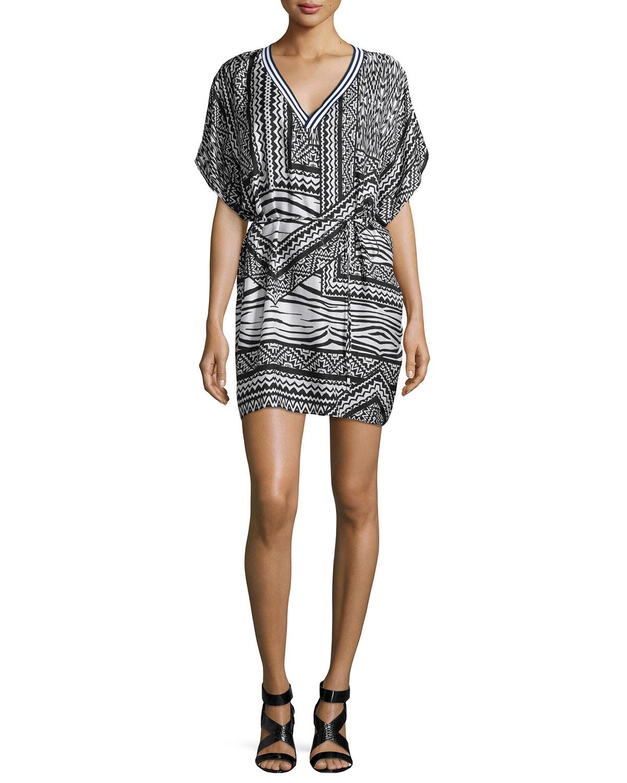 Hoffman Tribal-Print Chiffon Dress, Black/White