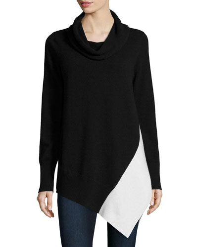 Cashmere Colorblock Cowl-Neck Sweater