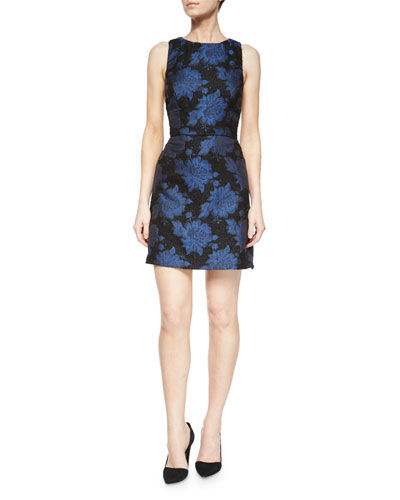 Ilene Floral-Jacquard Fitted Dress
