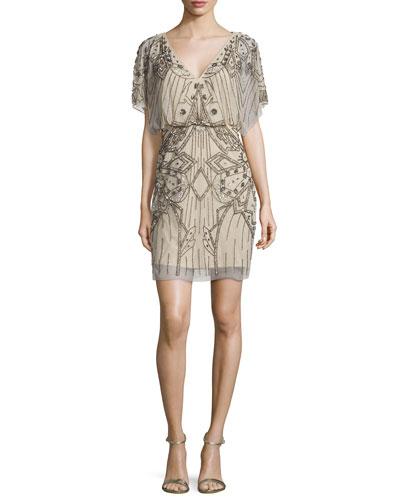 Short-Sleeve Sequined & Beaded Blouson Dress
