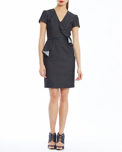 Asymmetric Ruffle Belted Dress, Denim