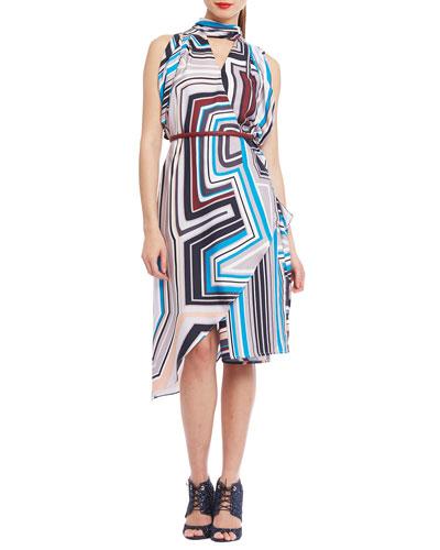 Metropolis Scarf-Print Cocktail Dress