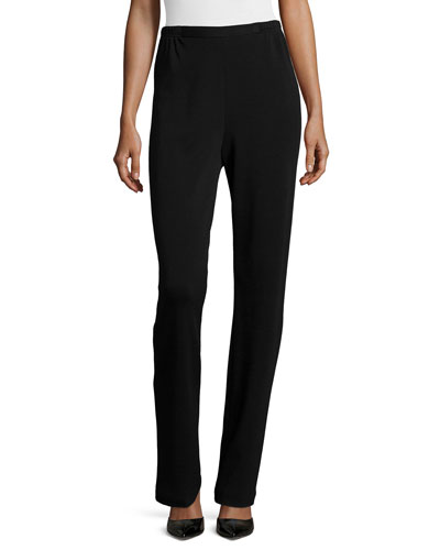 Flat Knit Wool Pants, Black, Petite