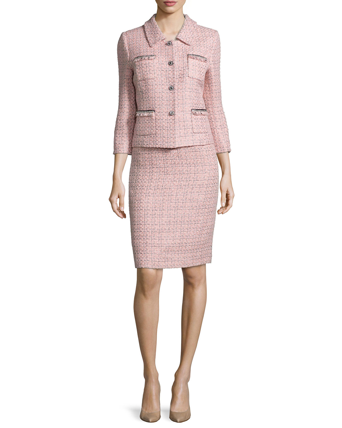 Three-Quarter Sleeve Tweed Skirt Suit, Pink/Black