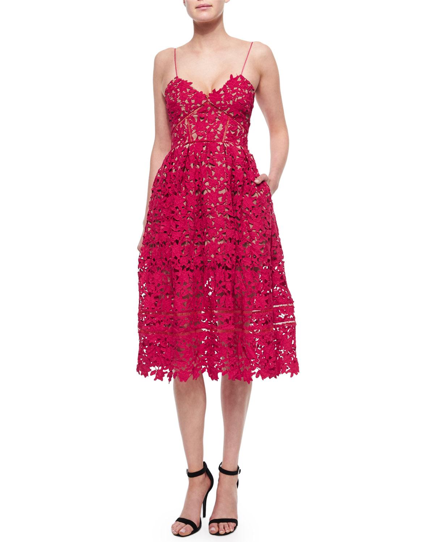 Azalea Lace Dress, Red