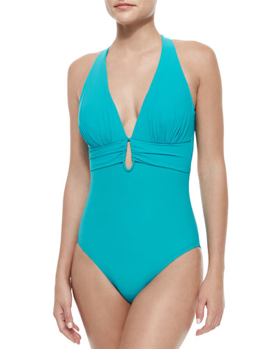 Cross-Back Gathered One-Piece Swimsuit