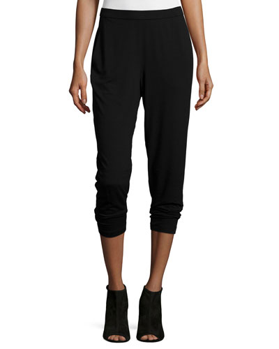 Slim Slouchy Ankle Pants, Black, Petite