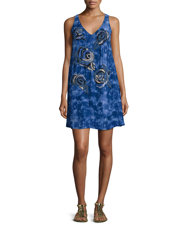 Sleeveless Floral-Bead Trapeze Dress