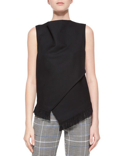 Sleeveless Wrap-Front Fringe Top, Black