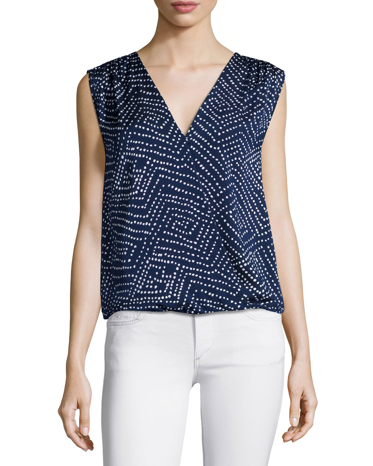 Sleeveless Silk-Blend Polka-Dot Blouse, Batik Midnight
