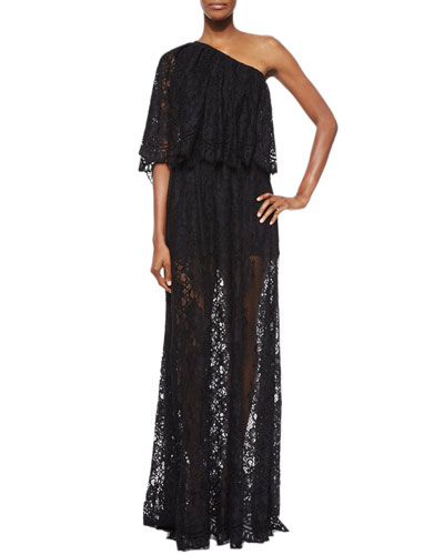 Sheer Lace One-Shoulder Maxi Dress