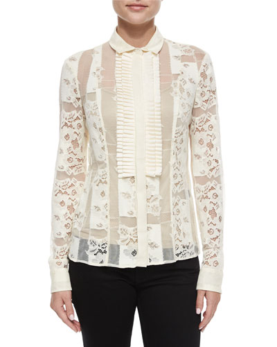 Sheer Lace Button-Down Blouse, Medium White