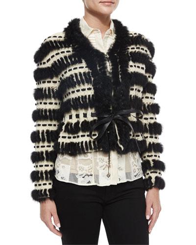 Crochet & Fur Cropped Jacket