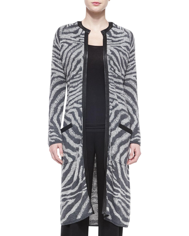 Animal-Print Sweater Coat, Gray/Black