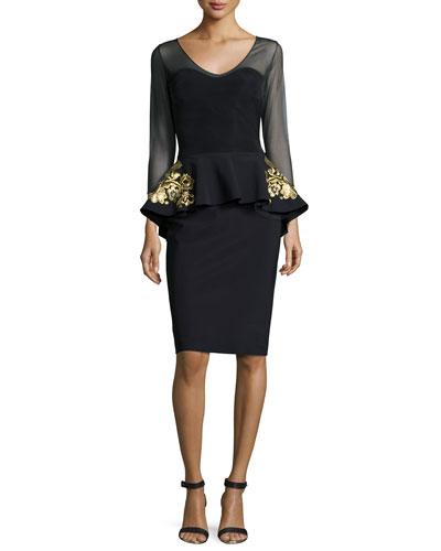 3/4-Sleeve Embroidered Peplum Dress, Black