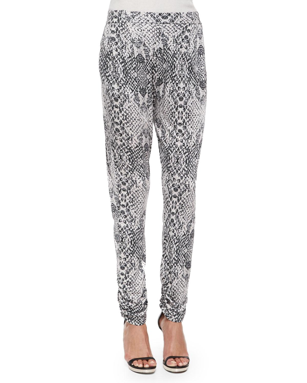 Boomer Snake-Print Slim-Fit Pants, Draco