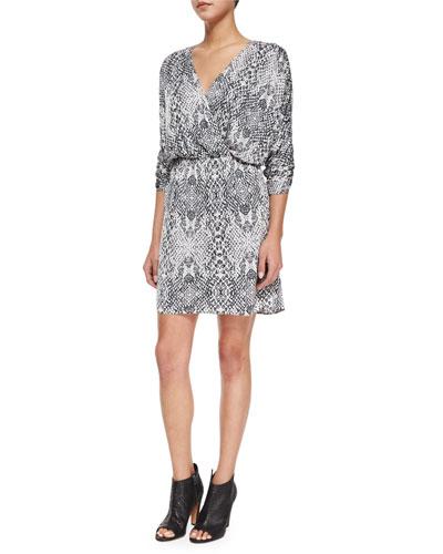 Catalina Snake-Print Chiffon Dress, Draco