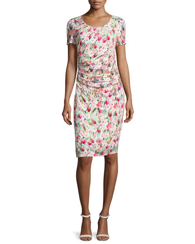 Short-Sleeve Floral-Print Ruched Jersey Dress