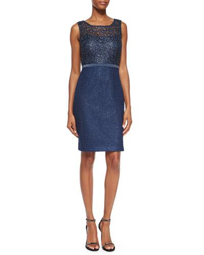 Sleeveless Metallic Lace Sheath Dress
