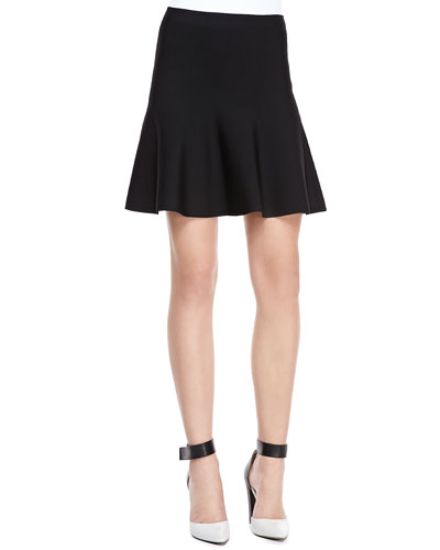 Ingrid A-Line Stretch-Knit Skirt, Black