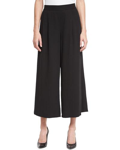 Woven Tencel® Grain Wide-Leg Cropped Pants
