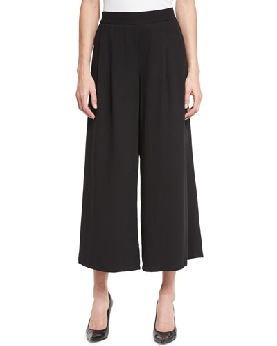 Woven Tencel® Grain Wide-Leg Cropped Pants, Petite