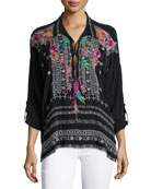 Indie Feather-Embroidered Blouse, Plus Size