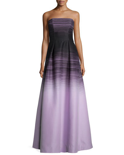 Strapless Ombre Ball Gown