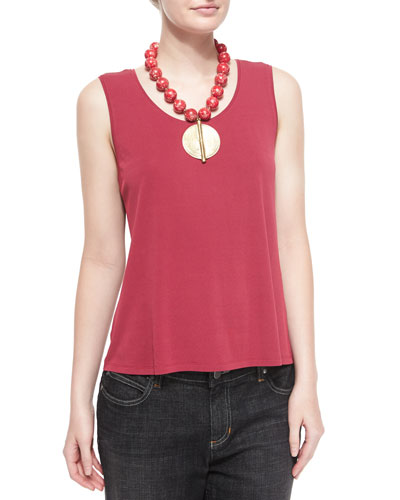 Silk Jersey Tank Top, Red Saffron, Petite
