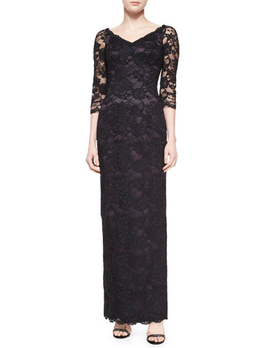 3/4-Sleeve Floral Lace-Overlay Gown