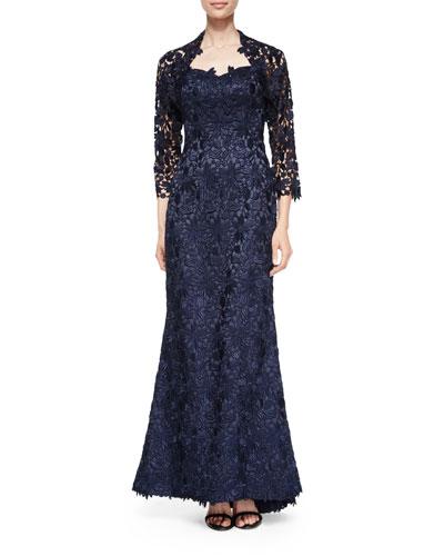 Strapless Lace Gown w/ Bolero, Navy