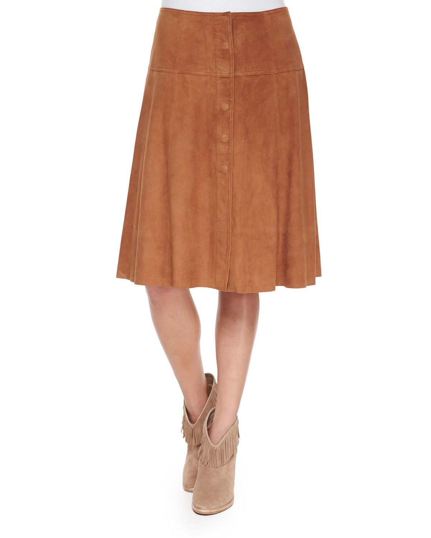 Mylon Suede Skirt, Saddle