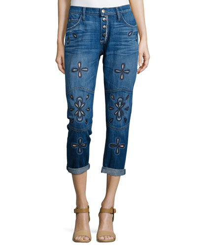 The Fling Cropped Jeans W/Embroidery, Blue