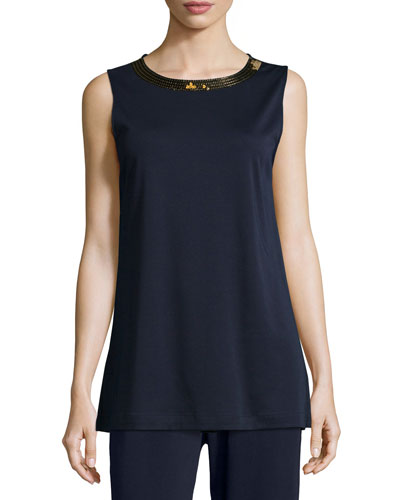 Sequined-Neck Long Interlock Tank