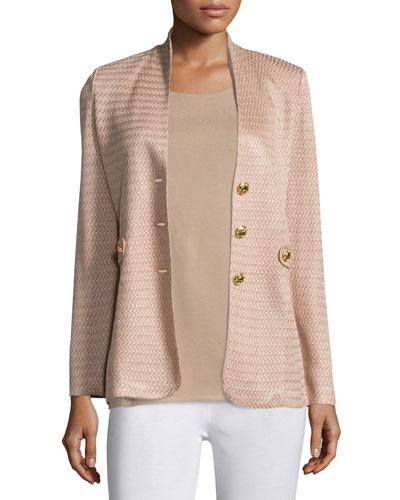 Textured Gold-Button Jacket, Plus Size