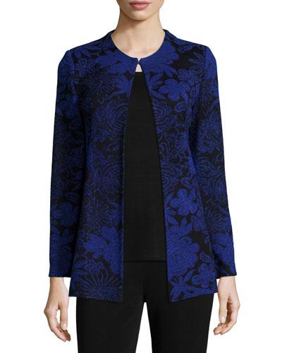 Long-Sleeve Floral-Print Jacket, Plus Size