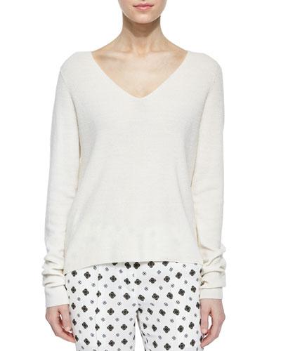 Rhodes Merino V-Neck Sweater, White
