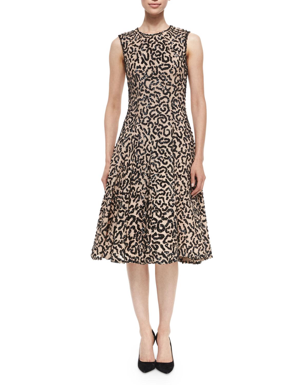 Kolby Sleeveless Sequin Dress, Black
