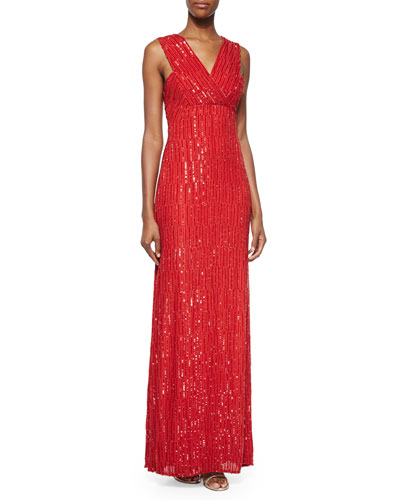 Talena Sequined Surplice Gown, Crimson